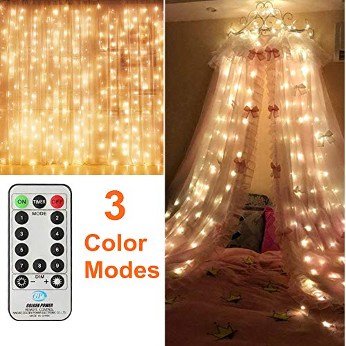 Tcamp Color Changing Curtain String Lights, 300LED Icicle Fairy Lights Warm White/White, 9.8FT x 9.8 FT, 9 Lighing Modes for Bedroom Bed Canopy Wedding Party [END to END Plug] [3 Color Modes] ()
