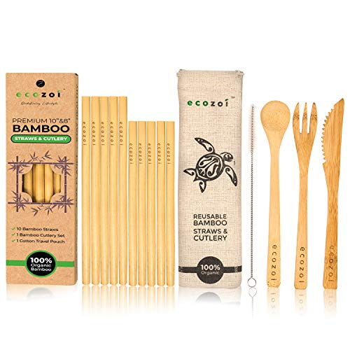 (Set of 10 Reusable Bamboo Drinking Straws, 10