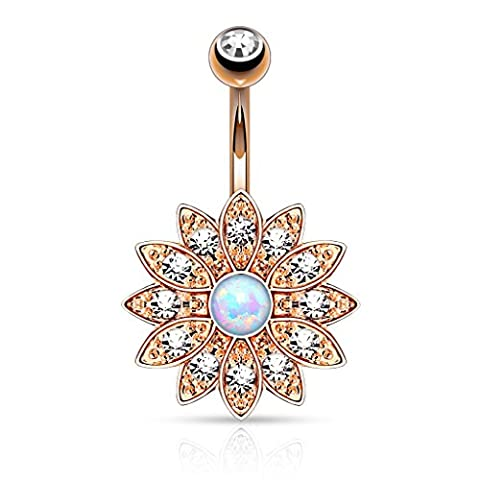 Paved Crystal Flower with Opal Center Navel Ring in 316L Surgical Steel (Rose Gold Tone / Clear - Flower Button