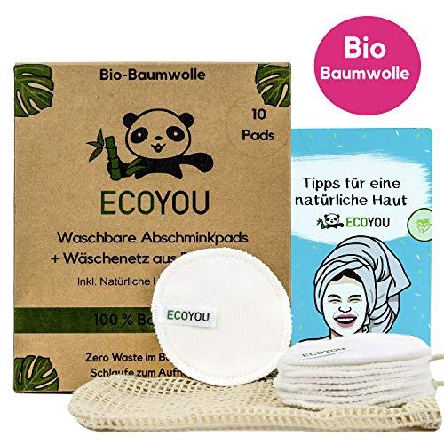 EcoYou® Waschbare Abschminkpads aus BIO-Baumwolle Wiederverwendbare Wattepads 10 STÜCK Nachhaltige Gesichtspflege für…