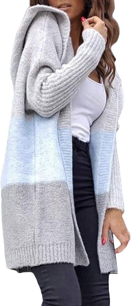 ORANDESIGNE Cardigan Femme Pull Gilets Tricot Coutures de Couleur Mode Long Tricot Veste /Él/égant /à Manches Longues Blouson Chic Manteau