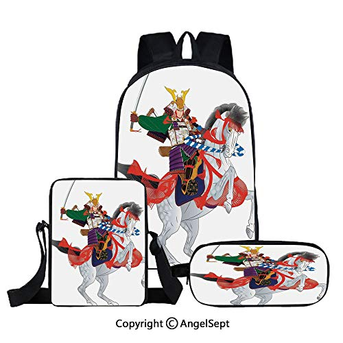Prancing Mens Horse - Three-piece children's school bag,An Asian Soldier with Local War Clothes Armour Riding a Prancing Horse Illustration,Red Green,For Teens Girls Boys Women Men