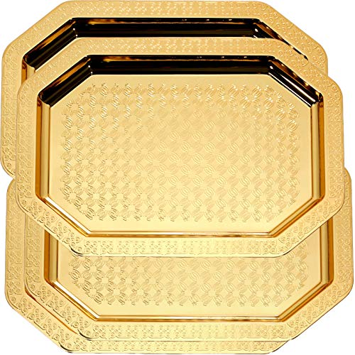 Maro Megastore (Pack of 4) 18.1-Inch x 13-Inch Octagonal Vintage Iron Gold Plated Serving Tray Edge Bricks Engraved Decorative Wedding Birthday Buffet Party Dessert Food Snack Wine 709 M Tla-064