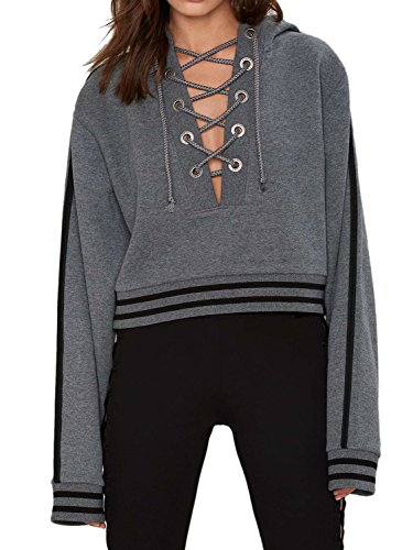 Choies Sweatshirt Drawstring Cropped Pullover