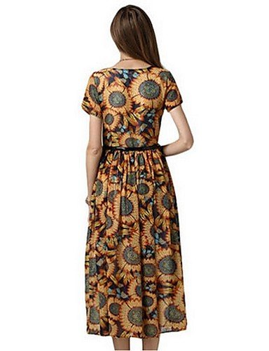 PU&PU Robe Aux femmes Swing Street Chic,Imprimé Col Arrondi Maxi Polyester , yellow-2xl , yellow-2xl
