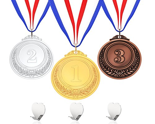 Senjo Rewards Olympic Style Award Medals for Kids and Adults, Metal Competition Ribbons with Display Hook Hangers (6 Piece Set)