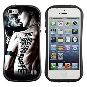 Hybrid Anti-Shock Bumper Case for Apple iPhone 5 5S / Girl With Dragon Tattoo