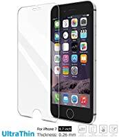 TOZO for iPhone 7 Screen Protector Glass, [0.26mm] Ultrathin Premium Tempered Glass [3D Touch Compatible] 9H Hardness 2.5D Edge [Super Clear] Screen 0.26mm [2PCS] by TOZO