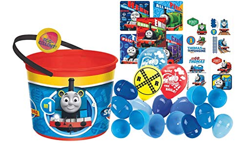 Thomas The Train Toddler Sized Easter Egg Loot Bucket & 12 Blue Toy-Filled Easter Eggs! Plus Egg Hunting Easter Button!]()
