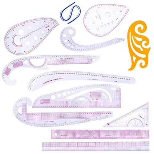 IPOTCH 12点/セット 裁縫定規 フレンチカーブルーラー 曲線定規 高精度 縫製 裁縫 道具の商品画像