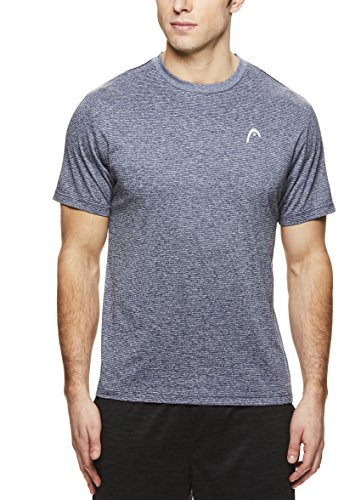HEAD Men's Crewneck Gym Training & Workout T-Shirt - Short Sleeve Activewear Top - Olympus Cool Grey Heather, - Intensity T-shirt Soccer