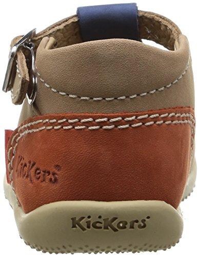 Kickers Bonbek - Patucos de cuero Bebé - niño Beige (Beige/Bleu/Orange)