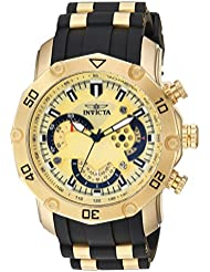 Invicta Mens Pro Diver Quartz Stainless Steel and Silicone Casual Watch, Color:Black (Model: 23427)