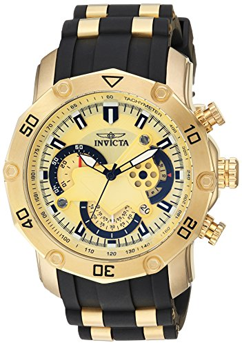 Invicta Men's Pro Diver Stainless Steel Quartz Watch with Silicone Strap, Black, 25 (Model: ()