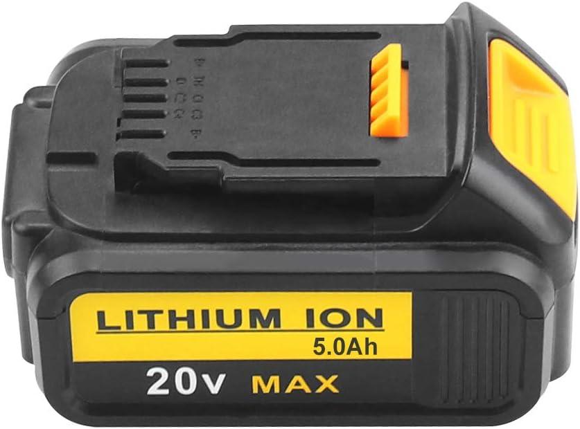 DCB201 DCB181 DCB201-2 DCB200-2 Herramienta El/éctrica DCB182 DCB200 2X FUNMALL DCB200 18V-20V 5.0Ah Li-ion Max Bater/ía Reemplazo para Dewalt DCB180