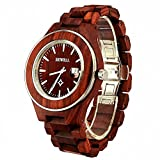 Bewell Man's Watch Wooden Watches with Adjustable Watchband 100AG Causal Fashion Style Quartz Watch