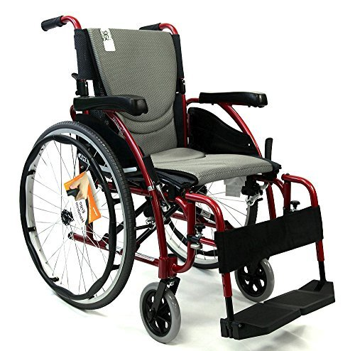 New Karman S-Ergo 125 ( S-Ergo125F18RS ) Ergonomic Wheelchair with Flip-Back Armrest and Swing Away Footrest in Red, 18 Seat Width by Karman (Flip Away Wheelchair Armrest)