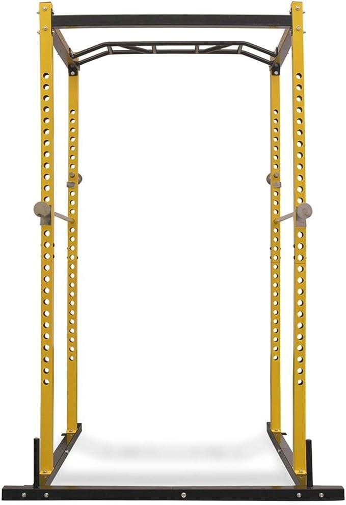 vidaXL Fitness Power Rack 140x145x214cm Yellow and Black Gym Training Tower