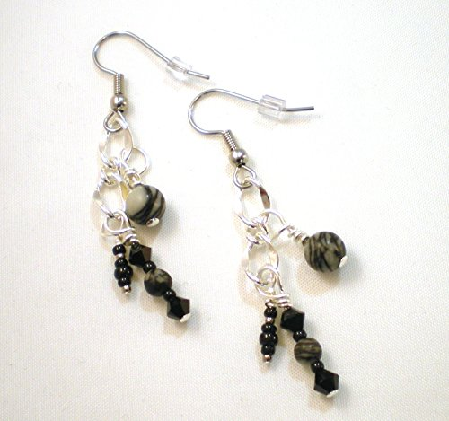 Black Silk Stone and Crystal Dangle Earrings