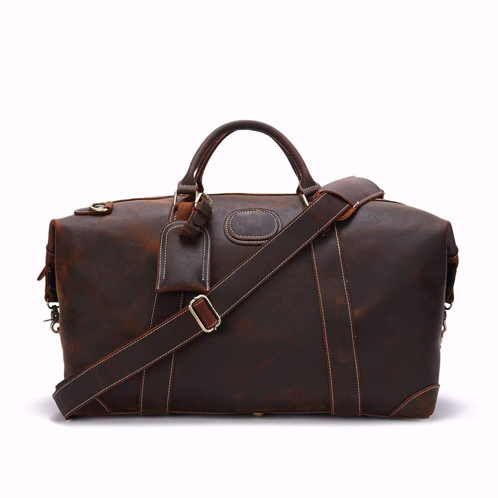 スタイリッシュなシンプルレザーメンズバッグ大容量アウトドアショルダーメッセンジャートラベルダッフルバッグ 旅行用ハンドバッグ (色 : 褐色) B07NSK9Z88