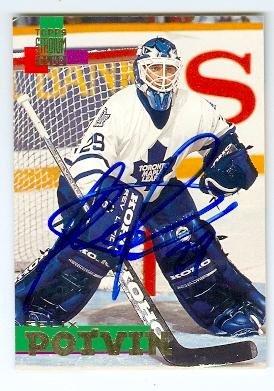(Felix Potvin autographed hockey card (Toronto Maple Leafs) 1994 Topps Stadium Club #15)