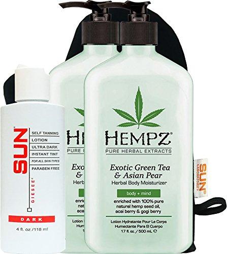 Hempz Exotic Herbal Body Moisturizer, Green Tea and Asian Pe