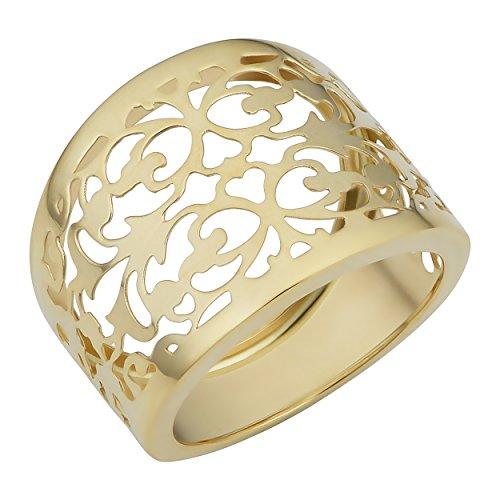 Gold Cigar Band - 14k Yellow Gold Filigree Cigar Band Ring, Size 7