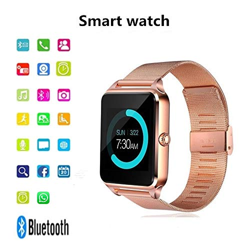 Onbio Bluetooth Smart Bracelet All-Day Heart Rate Sleep Sedentary Reminder Weather Sports Sweatproof 1.54 inch Full Color Smart Watch (Rose Golden)