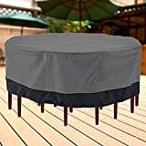 North East Harbor NEH Outdoor Patio Furniture Table and Chairs Cover 94'' Diameter Dark Grey with Black Hem - 100% Waterproof Winter Storage Cover Deck Patio Backyard Veranda Porch Table Covers