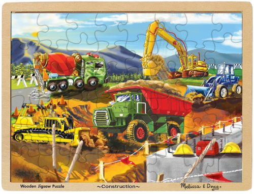 Melissa & Doug Construction Vehicles Wooden Jigsaw Puzzle With Storage Tray (48 pcs) for $<!--$9.99-->