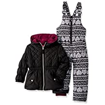 Pink Platinum girls Quilted Jacket Heart Print Snowsuit