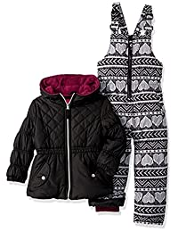 Pink Platinum Girls Quilted Jacket Heart Print Snowsuit
