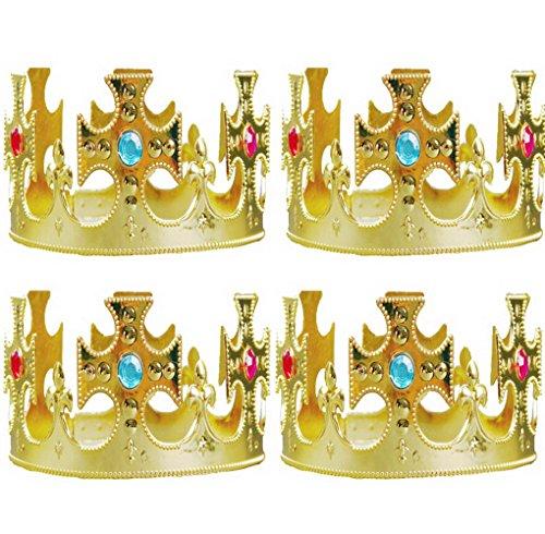 [4 Pcs Plastic Kings Crown Fancy Dress Accessory] (Mens Regal Pirate Captain Costumes)