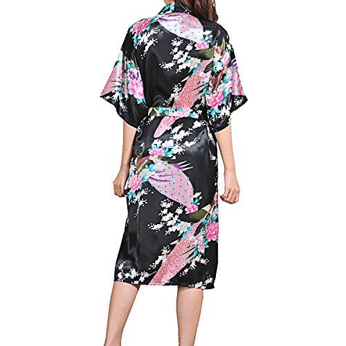 UTOVME Mujeres Kimono Largo Albornoz Pijamas de Seda, Camisión Estampado de Pavo Real para Spa Fiestas Negro