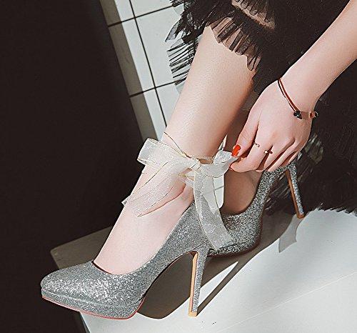 Femme Pointu Stiletto Bout Elégant Paillettes Aisun Dentelle Argent Escarpins qpwdXOc