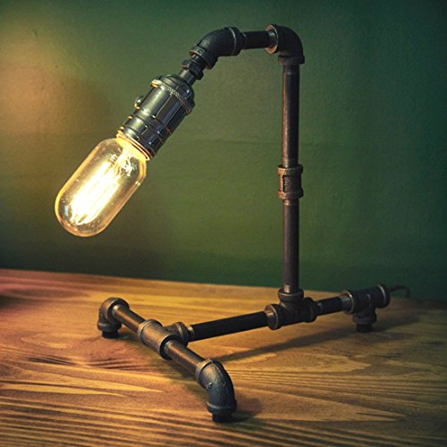 Vintage Lamp - Retro Industrial Style Steel Pipe Desk Table Lamp Light With Edison Bulb