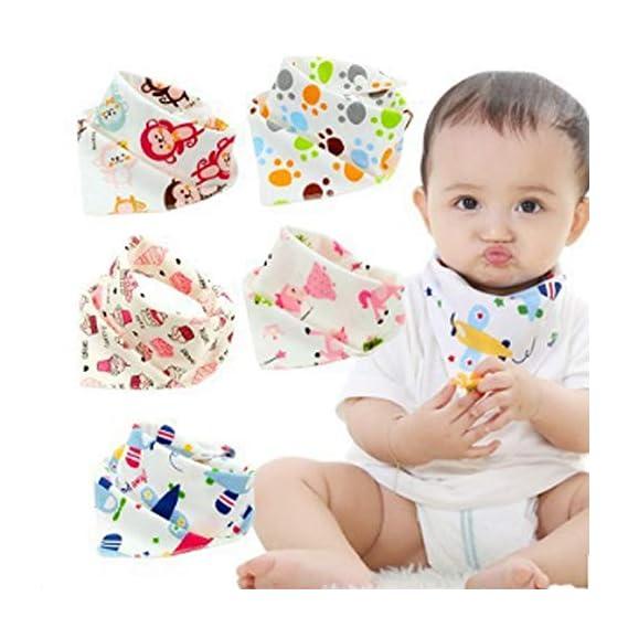 Zesta Baby Bibs, Bandana Drool Bibs Adjustable Size, Soft Material, Pack of 5 (Multi Light Color)- BBS5