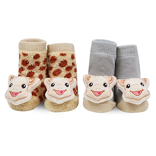Sophie La Girafe 2 Pack Unisex Newborn Baby Foot Rattle Socks 0-12 Months Sophie The Giraffe Gift