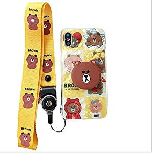 airbag stereo bear carrier apple handcase X/XS cartoon box of female apple X/XS hang rope of Korean adorable cartoon hand case