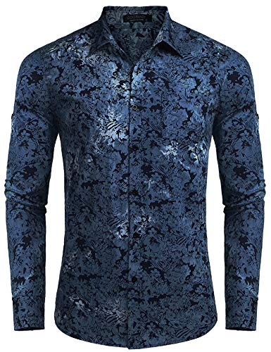 COOFANDY Men's Floral Button Down Shirt Long Sleeve Slim Fit Casual Paisley Dress Shirt Denim-Dark Blue from COOFANDY