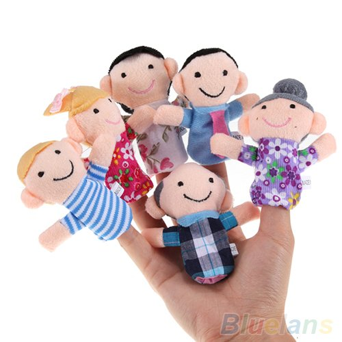 6 Pcs Family Member Finger Puppet Cloth Baby Finger Plush Toys Gift For Bedtime - Puppet Plush Ernie Hand