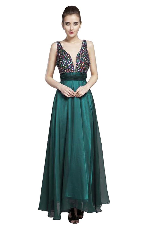 Beauty-Emily Tiered Doppel-V-Ausschnitt Ohne Arm Strass Abendkleid