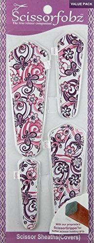 Scissors sheaths by SCISSORFOBZ with ScissorGripper -VALUE PACK-4 sizes- Designer Scissor Covers Holders for embroidery sewing quilting - Quilters sewers gift -Purple Floral Garden. (Halloween Costume For 2 Year Old)