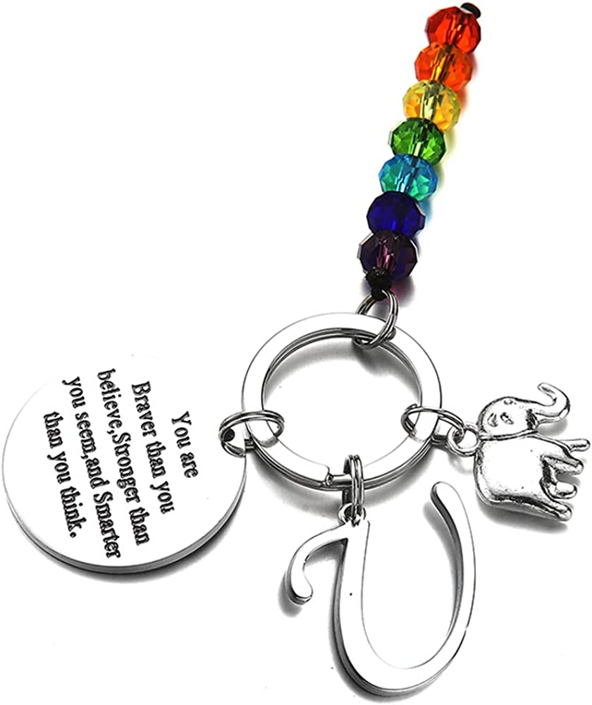 Initial Keychain with Chakra Inspirational Gifts Elephant Gifts for Women