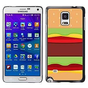 TopCaseStore / la caja del caucho duro de la cubierta de protección de la piel - Food Pop Art Junk Brown - Samsung Galaxy Note 4 SM-N910F SM-N910K SM-N910C SM-N910W8 SM-N910U SM-N910