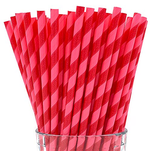 (Paper Straws by PGK - 200 Box | Pink and Red Striped Straws, Valentine's, Watermelon and Strawberry Party Decorations, Cute Colorful Paper Straws for Smoothies, Cocktails and Crafts (Pink Red) )