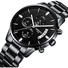 NIBOSI Men's Watches Luxury Fashion Casual Dress Chronograph Waterproof Military Quartz Wristwatches For Men Stainless Steel Band Black Color 2309-QHYDgd
