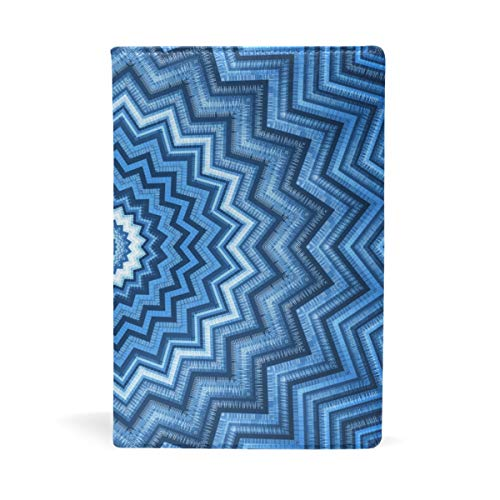 Anmarco - Funda elástica para libro de caleidoscopio azul, se adapta a la mayoría de libros de texto de hasta 8,7' x 5,8'...