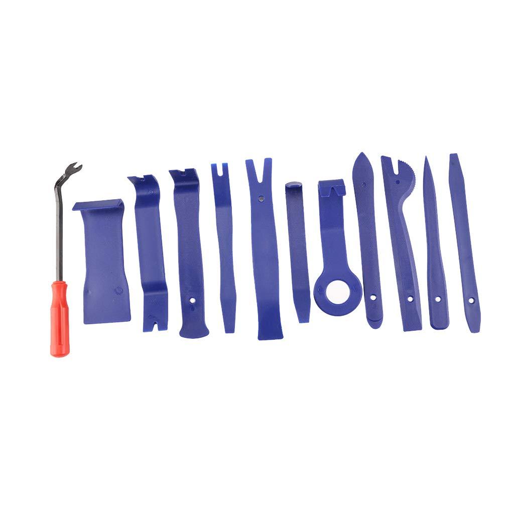 Bomcomi 12pcs Set Pannello Auto Motivi Radio Porta rimozione Strumenti di rimozione kitRadio Pannello Kit in plastica del Fermo di rimozione della Pinza di Rivet Pry