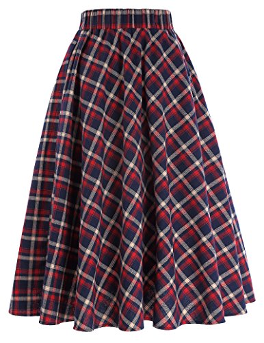Red and Blue Ladies Plaid A-Line Skirt Cotton Size S -